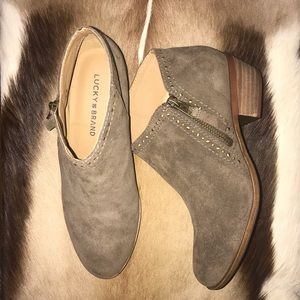 NWOT Lucky Brand Benna Olive Suede Booties